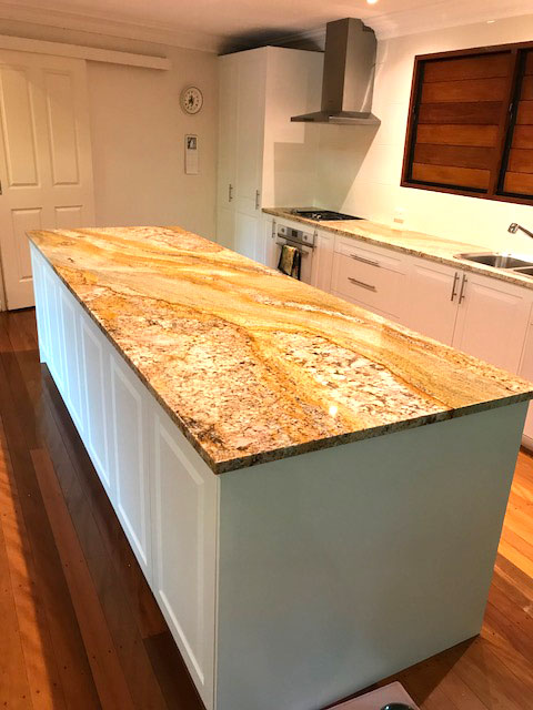 30mm Imperial Gold Granite Kitchen Bechtops by Brisbane Granite and Marble